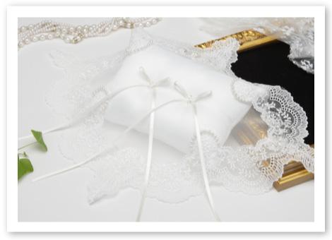 リングピロー手作りキット「クリスタルパール」純白のリングピローにオリジナルレースとパールの輝き