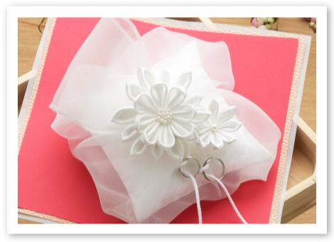和風リングピロー完成品「ほの香」可憐な日本女性のような純白のリングピロー