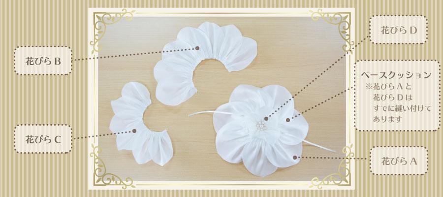 リングピロー手作りキット/イングリッシュローズの作り方 キット内容「花びらA・花びらD付きのベースクッション」「花びらB」「花びらC」