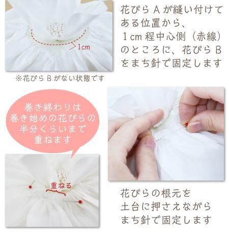 リングピロー手作りキット/イングリッシュローズの作り方 花びらAが縫い付けてある位置から、1cm程中心側(赤線)のところに、花びらBをまち針で固定します