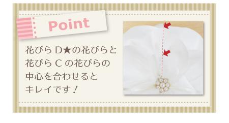 リングピロー手作りキット/イングリッシュローズの作り方 【Point】花びらD★の花びらと花びらCの1枚の中心を合わせるとキレイです!