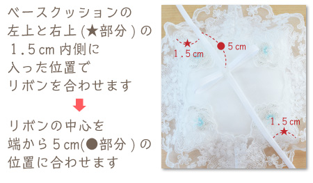 リングピロー手作りキット/オーロラの作り方 ベースクッションの左上と右上(★部分)の1.5cm内側に入った位置でリボンを合わせます → リボンの中心を端から5cm(●部分)の位置に合わせます